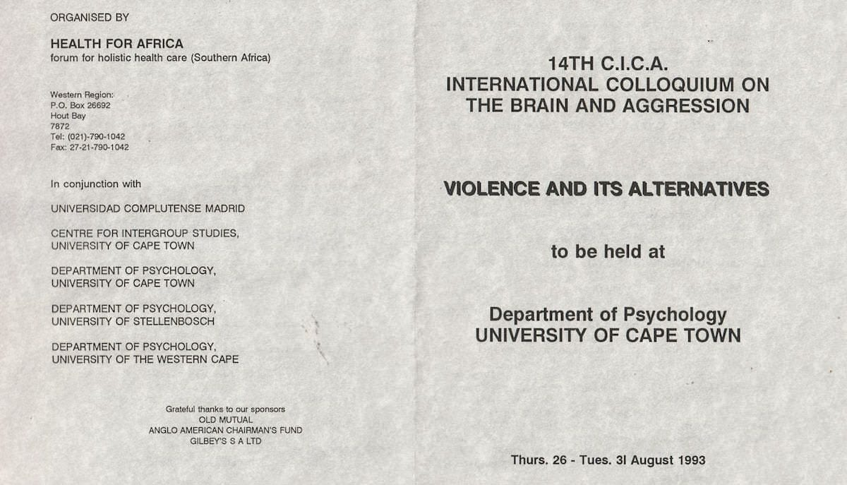 XIV CICA – Violence and its alternatives – 26/31 August 1993 – Cape Town – South Africa